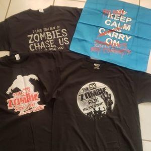 "Unique new bundle of ""zombie"" shirts n' bandana(4)"